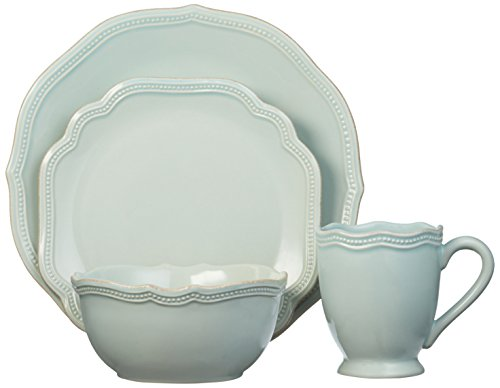 Lenox 4 Piece French Perle Bead Place Setting, Ice (Blue 20 Piece Place Setting)