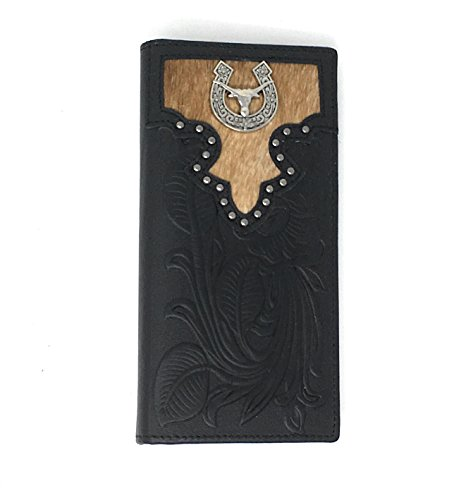 Premium Genuine Leather Texas Longhorn Cowhide Men's Bifold Wallet in 2 Colors (Black)