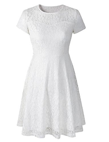 A Pleated Line Women Coolred Short Solid Lace White Stylish Sleeve Dress B6xwIq