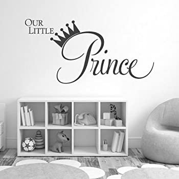 huanyi baby boys our little prince wall quote art transfer vinyl decal sticker home. Black Bedroom Furniture Sets. Home Design Ideas