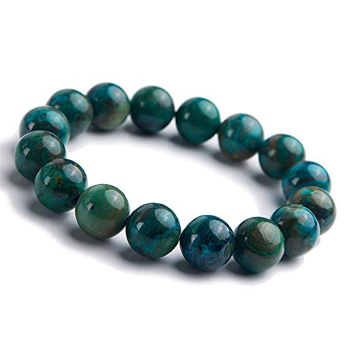 - DUOVEKT 13.5mm Natural Malachite Green Crystal Jewelry for Women Men Gemstone Round Beads Stretch Fashion Bracelet AAAA