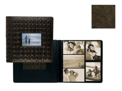 VINTAGE BROWN fine-grain leather #113 window album with 5-at-a-time pages by Raika - 4x6 by Raika®