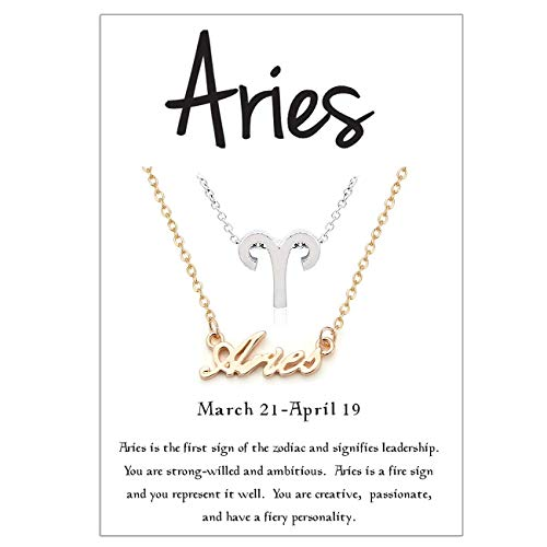 Cyberny Constellation Sign Aries Necklace for Women Gold & ()