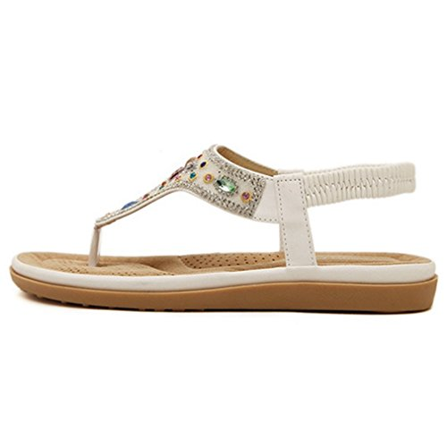 Cybling Rhinestones De Moda Bohemian Flats Sandalias Para Mujer Slip On Beach Correa Zapatos Blanco