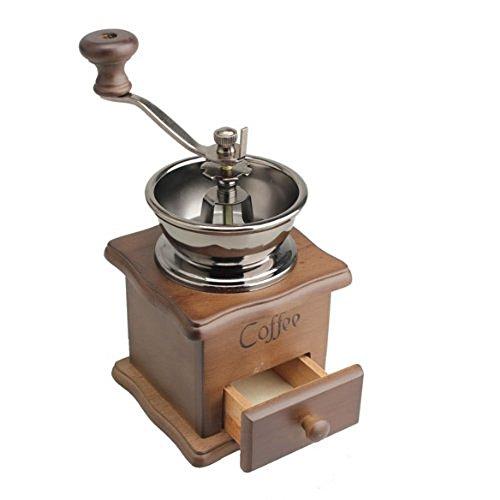 Vanki Mini Manual Coffee Mill Wood Stand Metal Bowl Antique Hand Coffee Bean Grinder by vanki (Image #4)