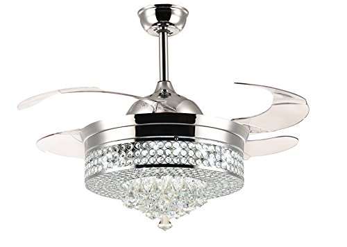Moooni Dimmable Retractable Ceiling fans with lights and Remote Invisible Crystal Led Chandelier Fan 42' Polished Chrome