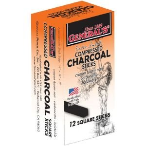 6 Pack COMPRESSED CHARCOAL STICKS 4B Drafting, Engineering, Art (General Catalog) - Drafting Engineering Art