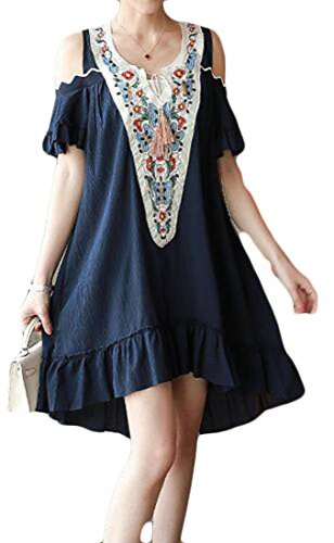 Women Dresses Beachwear Shoulder Fit Cold Relaxed Embroideried V Neck Swing Blue Cromoncent TzvdT