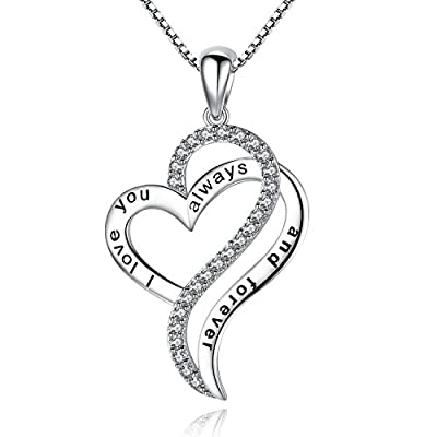 """Greendin 'I love you always and forever' Love Heart Pendant Necklace, Jewelry for Women, Girls, 18"""""""