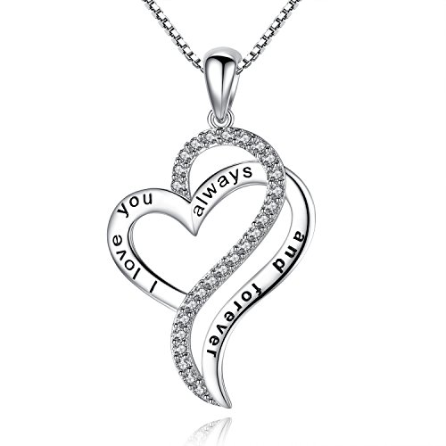 77cdc24763 Greendin 'I love you always and forever' Love Heart Pendant Necklace,  Jewelry for Women, Girls, 18″