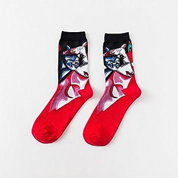 ZXXXFR Los Hombres Calcetines Moda Happy Socks Óleo Caracteres Personalidad Colorista Tubo Medio Hombre Promedio De