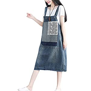Flygo Women's Loose Baggy Midi Length Denim Jeans Jumpers Overall Pinafore Dress Skirt