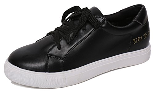 Idifu Moda Donna Allacciate Solide Scarpe Da Skate Basse Sportive Piatte Sneakers In Ecopelle Nere