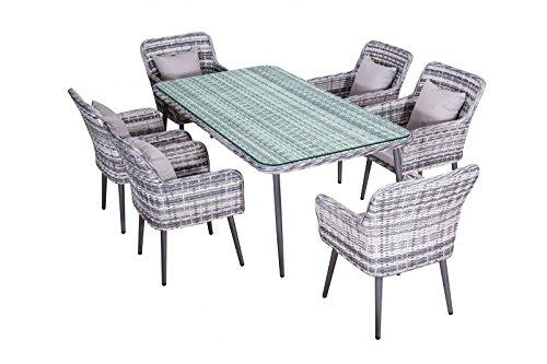 Jet-Line Garten Essgruppe Quito in grau Polyrattan Garten Möbel Modern 6 Stühle + Tisch 2 m Aluminium
