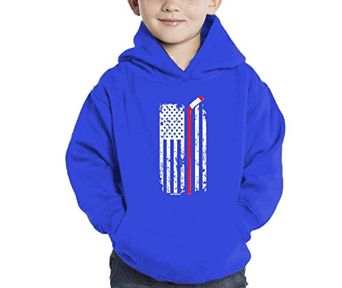 Toddler Little Boy Hockey Stick In American Flag Hoodie Sweatshirt ( 5/6, ROYAL (Hockey Kids Hoodie)