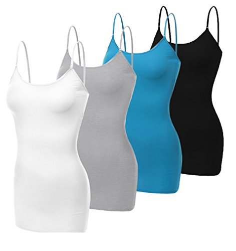 Neonysweets Womens Junior Camisole Built-in Shelf Bra Active Cami Tanks Top Pack