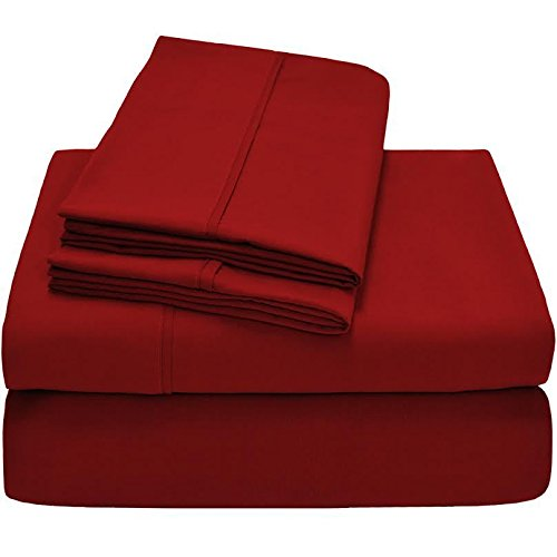 Twin XL Sheet Set, Twin Extra Long, 3-Piece Ultra-Soft Premium Bed Sheets/Pepper Red from Unknown