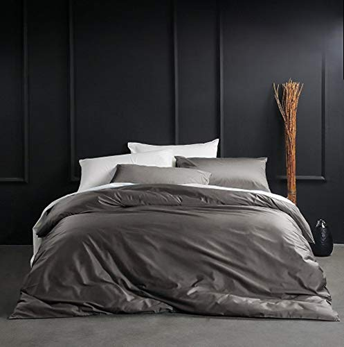 Eikei Solid Color Egyptian Cotton Duvet Cover Luxury Bedding Set High Thread Count Long Staple Sateen Weave Silky Soft Breathable Pima Quality Bed Linen (Queen, Taupe Grey) ()