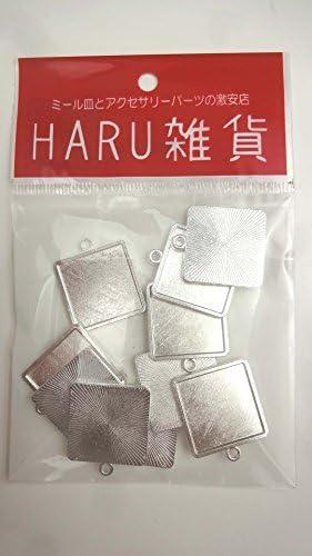 【HARU雑貨】シルバー ミール皿 10枚セット/四角 スクエア 銀 s17/セッティング レジン アクセサリーパーツ