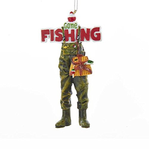 - Kurt Adler Gone Fishing Waders with Creel Hanging Ornament