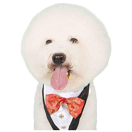 Stock Show Formal Small Medium Dogs Tuxedo Bandana Collar with Elegant Bowtie and Botton Adjustable Neckerchief for Wedding, Party, Costume, Gift and Birthday, Red