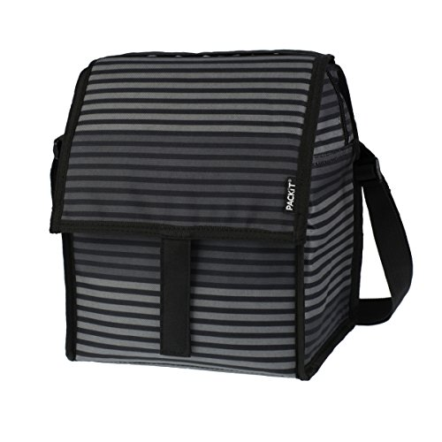 PackIt Freezable Deluxe Large Lunch Bag with Shoulder Strap, Gray Stripe (Uptown Silverware)