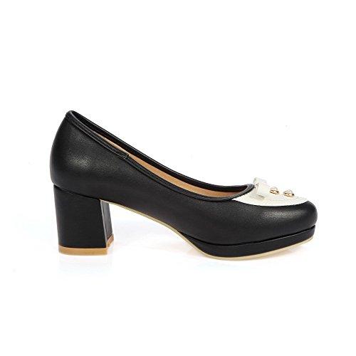 AllhqFashion Damen Mittler Absatz Gemischte Farbe Ziehen auf Rund Zehe Pumps Schuhe Schwarz