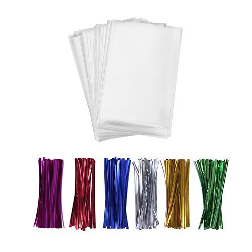 200 Treat Bags with Twist Ties 6 Mix Colors – 1.4mils Thickness OPP Plastic Bags