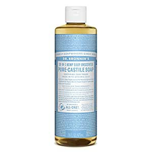 Dr. Bronner's - Pure-Castile Liquid Soap(Baby Unscented, 16 Ounce)- Made with Organic Oils, 18-in-1 Uses: Face, Hair, Laundry & Dishes For Sensitive Skin & Babies, No Added Fragrance, Vegan, Non-GMO