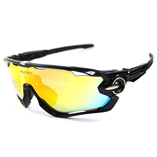 Polarized Cycling glasses for Men UV400 Protection Sports Sunglasses With 3 Interchangeable Lenses for Cycling, Baseball ,Fishing, Ski Running - In The See Water Fish To Sunglasses