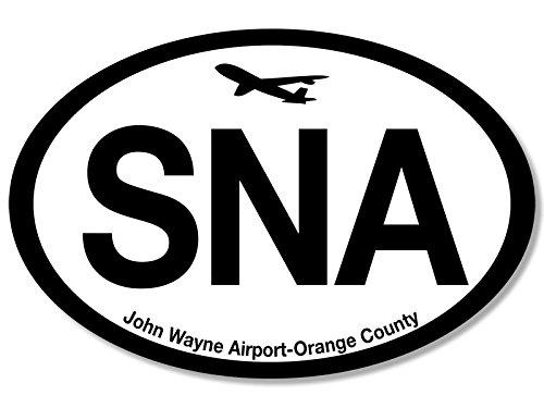 Oval SNA John Wayne Airport Code Sticker (jet fly air hub pilot - Wayne Airport John