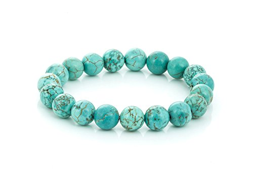 Gemstone Bead 7-1/2 Inch Stretch Bracelet (Turquoise Howlite) Blue Turquoise Howlite Gem