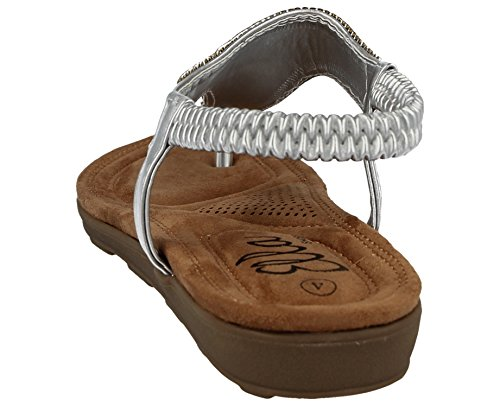 EU 39 Femmes Sandale 6 Silver Ella Jacky UK Z4zq6