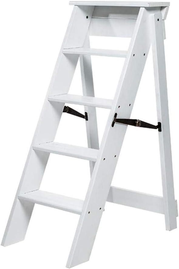 J-Escalera de Tijera Portátil 5 Niveles Plegables Taburete Escalera De Madera Estable Baja Estante Puesto De Flores, Familia Cocina Adulto Niño (Color : White): Amazon.es: Bricolaje y herramientas