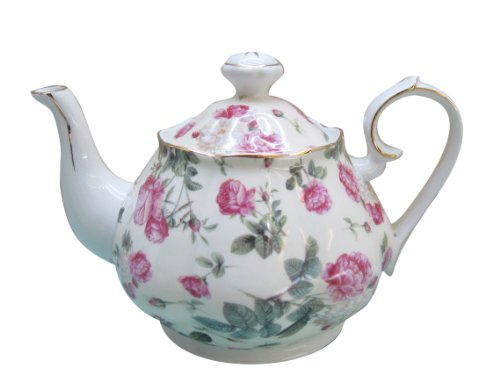 Gracie China Rose Chintz Porcelain 4-1/2-Cup Teapot Pink Ros