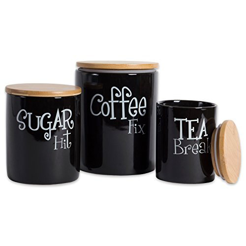 DII Coffee/Sugar/Tea Ceramic Canister Set/3, Black