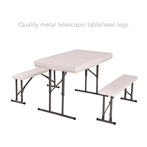 koonlert14 Table and Benches Set Chair Seat Folding Quality Metal Telescopic Table/Seat Legs Picnic Patio Garden Outdoor Furniture #516 (Fl Furniture Patio Jacksonville Sets)