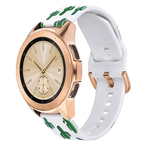 VIGOSS Cactus Band Compatible Galaxy Watch 42mm Bands Women 20mm Width Silicone Strap Replacement Wristband for Samsung Galaxy Watch 42mm SM-R810 Smartwatch (Cactus Band)