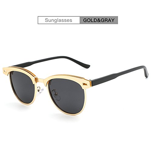 Gray 2018NEW Moda Gloden UV400 Ying para Gafas de de Gafas Unisex Medio Sol Polarized Marca Gloden Color de Metal conducción Sol Marco Classic Hombres de gray de pSPqd41P