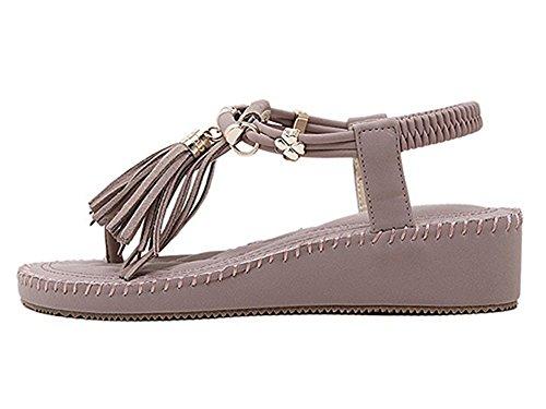 Casual T Violett YOUJIA Schuhe Strand Damen Quaste Spange Sandale Sandalen OPwTU6n