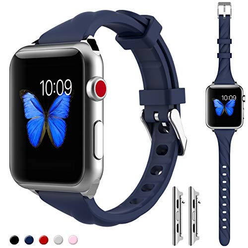 Price comparison product image HAOZOUSA Compatible Slim Watch Band Woman Narrow Watch Strap Sport Wristband Replacement for Apple Watch iWatch 42mm Series 3 2 1 S/M M/L Size (42-xw-LAN)