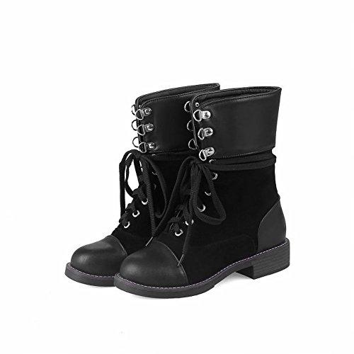 Mee Shoes Damen Niedrig mit Schnürsenkel Kurzstiefel Schwarz