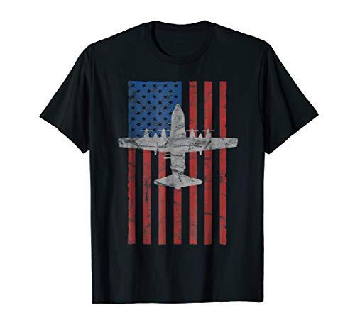 AC-130 Gunship Airplane Color Vintage Flag T-shirt