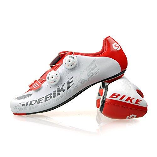 TXJ® Unisexo Zapatos de Bicicleta de Carretera (Elija un Tamaño Más Grande de lo Habitual) SD-002 Blanco-Rojo
