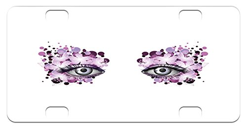 Violet Dot (Eyelash Mini License Plate by Ambesonne, Fantasy Look with Abstract Floral Makeup Design Dots Violet Summer Blossoms, High Gloss Aluminum Novelty Plate, 2.94 L x 5.88 W Inches, Violet Lilac Grey)