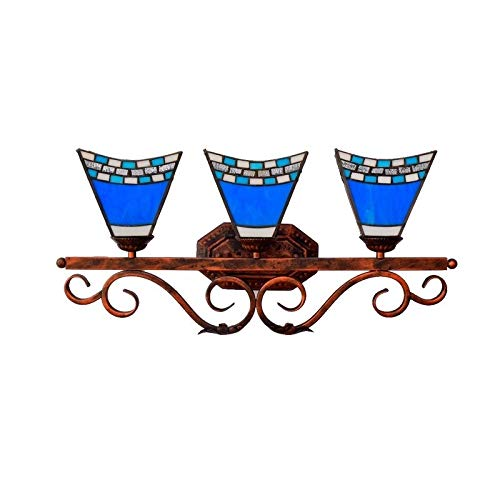 Three Headlights Tiffany Style European Mediterranean Blue Glass Bathroom Mirror Headlights American -