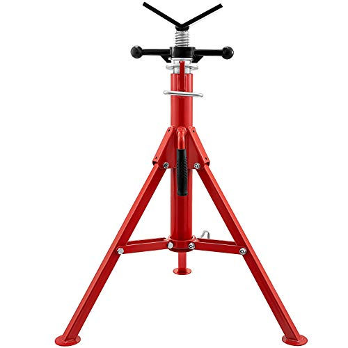 Mophorn 0.5-12 inch V Head Pipe Stand Adjustable Height 28-52 inch 4500lb Pipe Jack Stands Folding Portable High Folding Pipe Stand with V Head Fold A Trailer Jacks