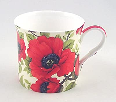 English Fine Bone China Mug - Poppy Chintz - 12 Ounce - England