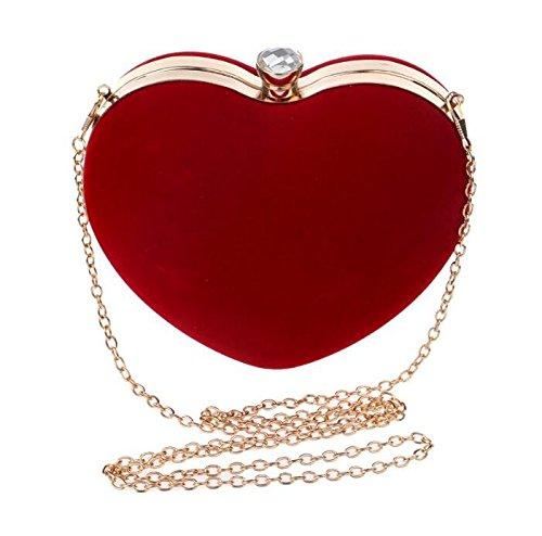 Handbag Red Evening with Bridal Heart Udane Party Elegant Blue Shape Chain Luxury Clutch Women Long Wedding wCPZqXx