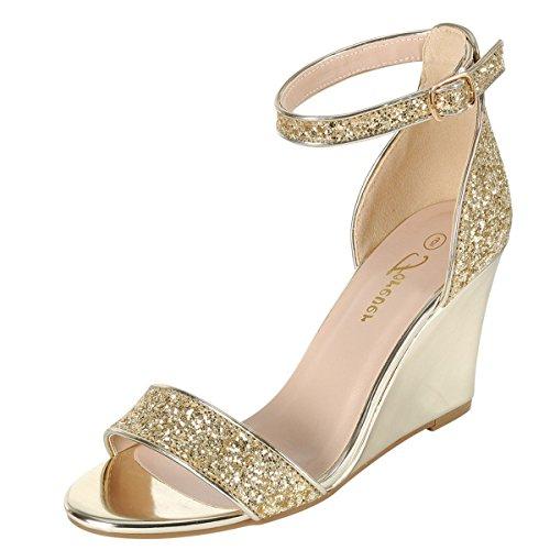 Per Sempre Open Toe Metallico Glitter Cinturino Alla Caviglia Medio Con Zeppa Alta Sandalo Con Zeppa Scarpa Pompa Oro